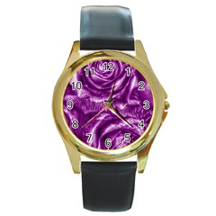 Gorgeous Roses,purple  Round Gold Metal Watches