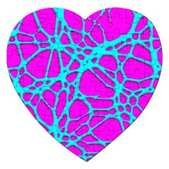 Hot Web Turqoise Pink Jigsaw Puzzle (heart) by ImpressiveMoments