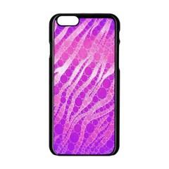 Florescent Pink Zebra Pattern  Apple Iphone 6 Black Enamel Case
