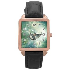 Funny Dswimming Dolphin Rose Gold Watches