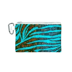 Turquoise Blue Zebra Abstract  Canvas Cosmetic Bag (s)