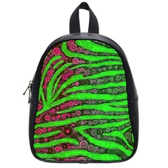 Florescent Green Zebra Print Abstract  School Bags (small)  by OCDesignss