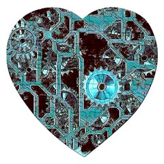 Steampunk Gears Turquoise Jigsaw Puzzle (heart) by MoreColorsinLife