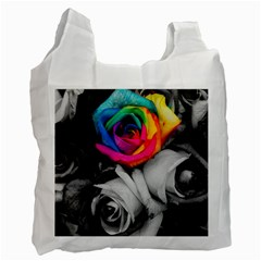 Blach,white Splash Roses Recycle Bag (one Side) by MoreColorsinLife