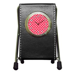 Hot Pink Polka Dots Pen Holder Desk Clocks by creativemom