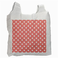 Coral And White Polka Dots Recycle Bag (one Side) by creativemom