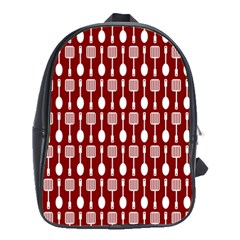 Red And White Kitchen Utensils Pattern School Bags(large)  by creativemom
