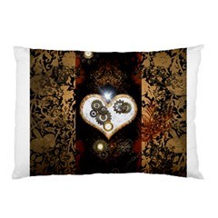 Steampunk, Awesome Heart With Clocks And Gears Pillow Cases (two Sides)