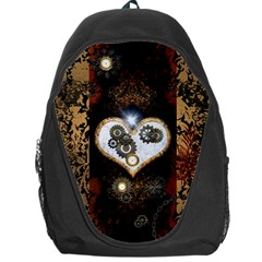 Steampunk, Awesome Heart With Clocks And Gears Backpack Bag by FantasyWorld7
