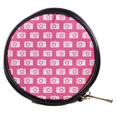 Pink Modern Chic Vector Camera Illustration Pattern Mini Makeup Bags by creativemom