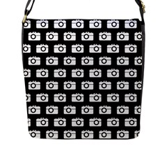 Modern Chic Vector Camera Illustration Pattern Flap Messenger Bag (L)  by creativemom