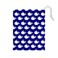 Cute Whale Illustration Pattern Drawstring Pouches (large)  by creativemom