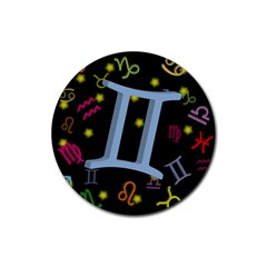 Gemini Floating Zodiac Sign Rubber Round Coaster (4 Pack)  by theimagezone