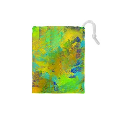 Abstract In Blue, Green, Copper, And Gold Drawstring Pouches (small)  by theunrulyartist