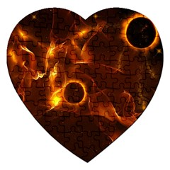 Fire And Flames In The Universe Jigsaw Puzzle (heart) by FantasyWorld7