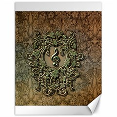 Elegant Clef With Floral Elements On A Background With Damasks Canvas 18  X 24