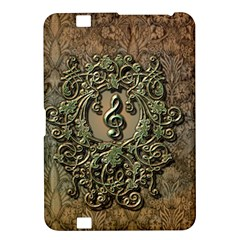 Elegant Clef With Floral Elements On A Background With Damasks Kindle Fire Hd 8 9  by FantasyWorld7