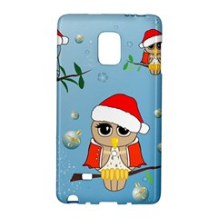 Funny, Cute Christmas Owls With Snowflakes Galaxy Note Edge by FantasyWorld7