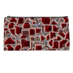 Metalart 23 Red Silver Pencil Cases by MoreColorsinLife