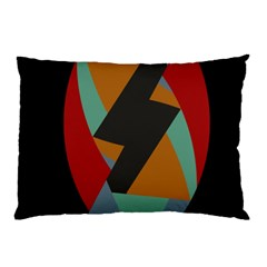 Fractal Design In Red, Soft Turquoise, Camel On Black Pillow Cases (two Sides)