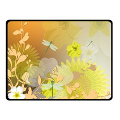 Beautiful Yellow Flowers With Dragonflies Double Sided Fleece Blanket (Small)  by FantasyWorld7