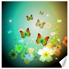 Flowers With Wonderful Butterflies Canvas 20  X 20   by FantasyWorld7