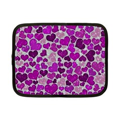 Sparkling Hearts Purple Netbook Case (small)  by MoreColorsinLife
