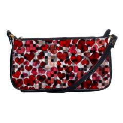 Hearts And Checks, Red Shoulder Clutch Bags by MoreColorsinLife