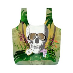Funny Skull With Sunglasses And Palm Full Print Recycle Bags (m)  by FantasyWorld7