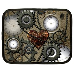 Steampunk With Clocks And Gears And Heart Netbook Case (xl)  by FantasyWorld7