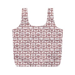 Light Pink And White Owl Pattern Full Print Recycle Bags (m)  by creativemom