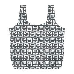 Gray And White Owl Pattern Full Print Recycle Bags (l)  by creativemom