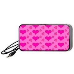 Hearts Pink Portable Speaker (black)