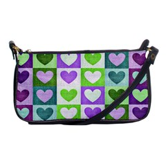 Hearts Plaid Purple Shoulder Clutch Bags by MoreColorsinLife