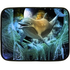 Funny Dolphin In The Universe Double Sided Fleece Blanket (mini)