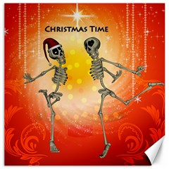 Dancing For Christmas, Funny Skeletons Canvas 20  X 20   by FantasyWorld7