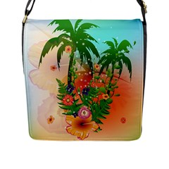 Tropical Design With Palm And Flowers Flap Messenger Bag (L)  by FantasyWorld7