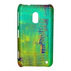 Abstract in Turquoise, Gold, and Copper Nokia Lumia 620 by theunrulyartist