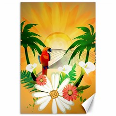 Cute Parrot With Flowers And Palm Canvas 24  X 36  by FantasyWorld7