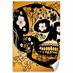 Sugar Skull In Black And Yellow Canvas 24  X 36  by FantasyWorld7