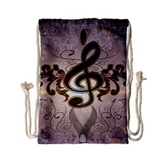 Music, Wonderful Clef With Floral Elements Drawstring Bag (small) by FantasyWorld7