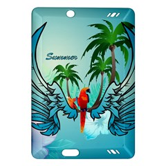 Summer Design With Cute Parrot And Palms Kindle Fire Hd (2013) Hardshell Case by FantasyWorld7
