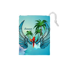 Summer Design With Cute Parrot And Palms Drawstring Pouches (small)  by FantasyWorld7