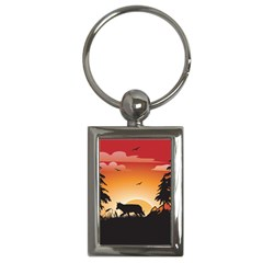 The Lonely Wolf In The Sunset Key Chains (rectangle)  by FantasyWorld7