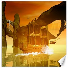 Awesome Sunset Over The Ocean With Ship Canvas 20  X 20   by FantasyWorld7