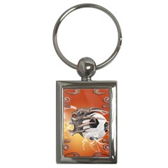 Soccer With Skull And Fire And Water Splash Key Chains (rectangle)  by FantasyWorld7