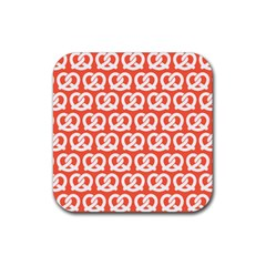 Coral Pretzel Illustrations Pattern Rubber Square Coaster (4 Pack)  by creativemom