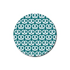 Teal Pretzel Illustrations Pattern Rubber Round Coaster (4 Pack)  by creativemom