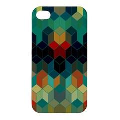 Colorful Modern Geometric Cubes Pattern Apple Iphone 4/4s Hardshell Case