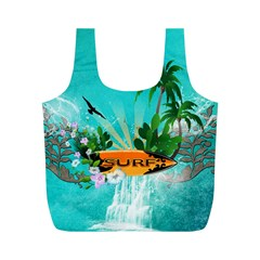 Surfboard With Palm And Flowers Full Print Recycle Bags (m)  by FantasyWorld7